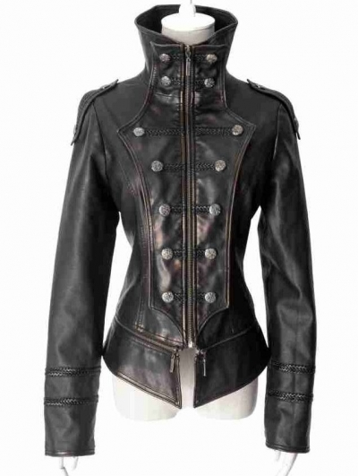 Black Leather Gothic Tuxedo Style Military Jacket for Women and Men