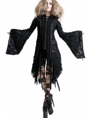 Alternative Black Gothic Hooded Long Sweater for Women