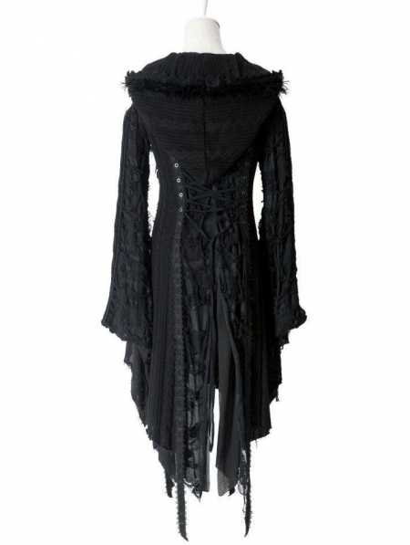 Alternative Black Gothic Hooded Long Sweater for Women ...