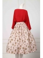Elegant Vintage Silk Red Cotton Hepburn Style 1950s Two Pieces Set