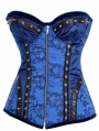 Blue Floral Pattern Overbust Cupless Fashion Steampunk Corset