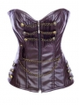 Brown Overbust Fashion Steampunk Leather Corset