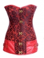 Red Pattern Overbust Steampunk Corset