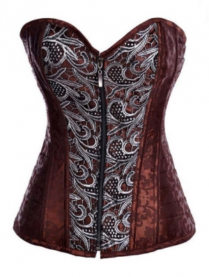Brown Floral Pattern Overbust Fashion Steampunk Corset