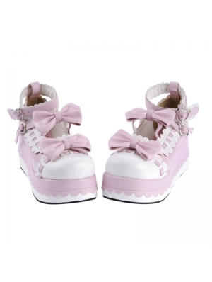 White/Black/Pink Sweet Bow Lolita Platform Shoes