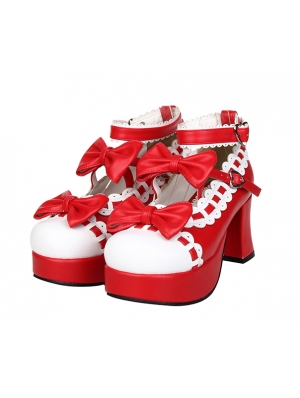 Red/Black/Pink Little Girl's Crossed Blet Sweet Lolita High Heel Shoes