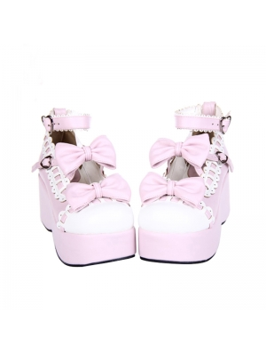 Dreamy Pink Bow Sweet Lolita Platform Shoes