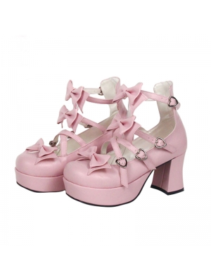 Pink/Black/White Little Princess Sweet Lolita High Heel Shoes