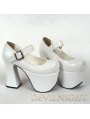 White/Black/Red Classic Simple Lolita High Heel Shoes