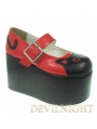 Red/Black Cat Pattern Sweet Lolita Platform Shoes