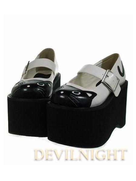black cat pattern sweet platform shoes