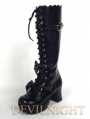 Black/White Sweet Bow Lolita High Heel Boots