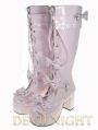 Pink/Black/Red/White Sweet Lolita High Heel Boots With Bows and Buckles