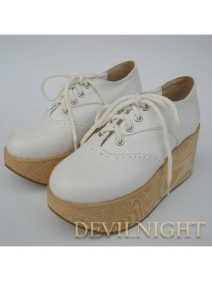 White/Black Classic Lolita Wooden Platform Shoes
