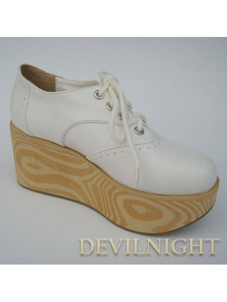 white black classic wooden platform shoes