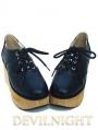 White/Black Classic Lolita Wooden Platform Shoes