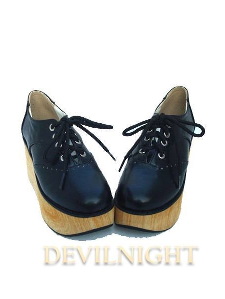 White Black Classic Lolita Wooden Platform Shoes