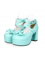 White/Black/Pink/Red High Heel Belt Bow Sweet Lolita Shoes