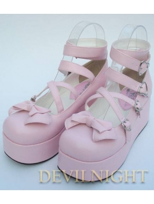 Pink/White/Black/Red Princess Sweet Lolita Platform Belt Bow Shoes