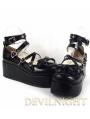 Pink/White/Black/Red Princess Sweet Lolita Platform Belt Bow Shoes