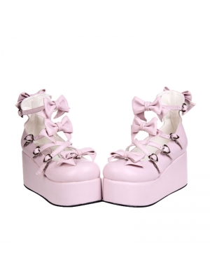 Pink/White/Black/Red Sweet Bow Lolita Platform Shoes