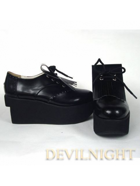 black white classic platform shoes with chalaza and