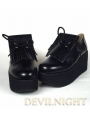Black/White Classic Lolita Platform Shoes With Chalaza and Tassels