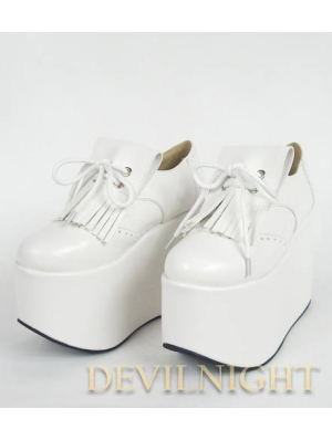 White Classic High Platform Lolita Shoes With Tassles Design
