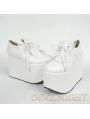 White Classic High Platform Lolita Shoes With Tassles Design