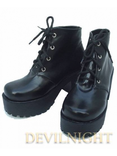 Black Gothic Lolita High Heel Ankle Boots