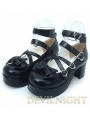 Black/Pink/White High Heel Crossed Belt Sweet Lolita Shoes