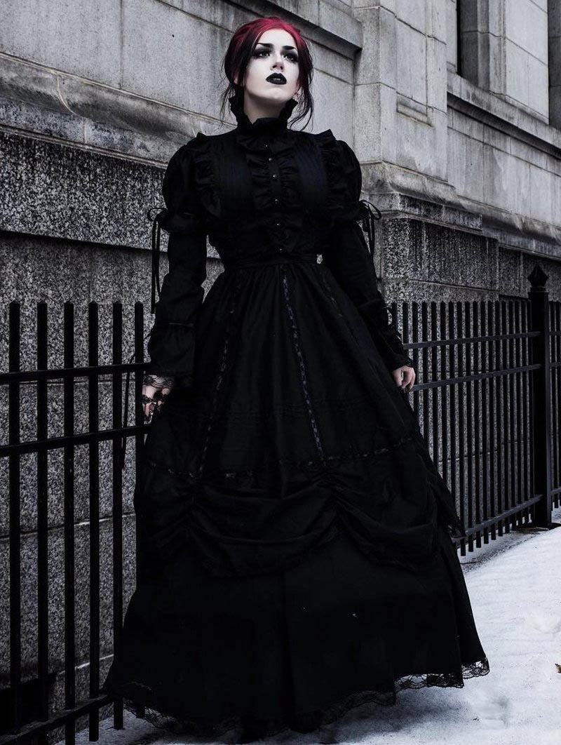 Black High Collar Classic Gothic Victorian Dress - Devilnight.co.uk