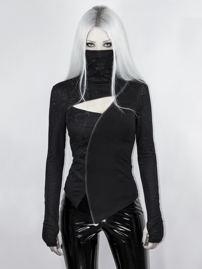 Black Gothic Punk Dark Turtleneck T-Shirt for Women