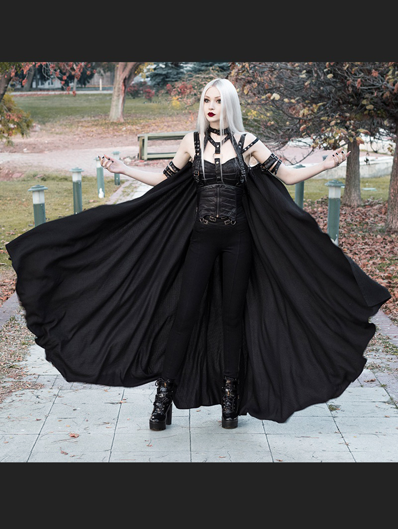 Women's Black Gothic Punk Cape With Chain