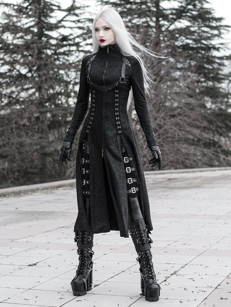 Black Gothic Dark Punk Long Coat for Women