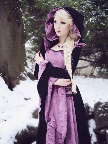 Purple And Black Velvet Gothic Hooded Medieval Dress