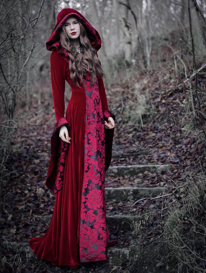 Red Velvet Gothic Hooded Medieval Dress Devilnight Co Uk