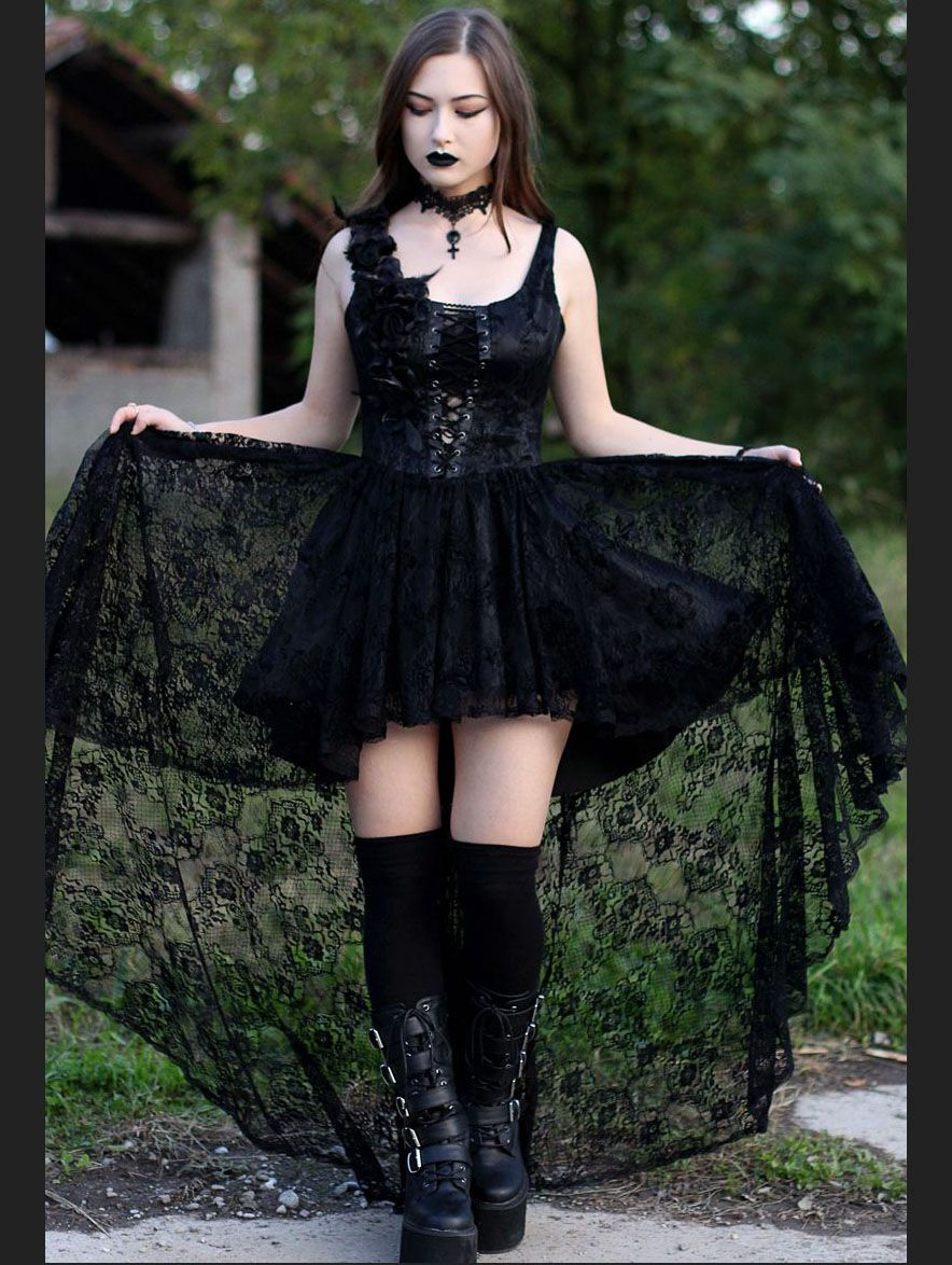 Black Lace Gothic Queen Style High Low Dress Devilnight