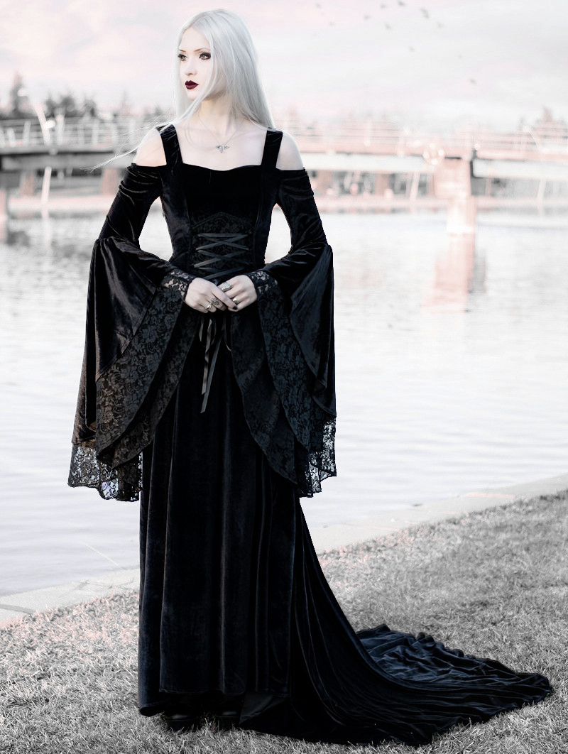 Black Off-the-Shoulder Renaissance Gothic Medieval Dress